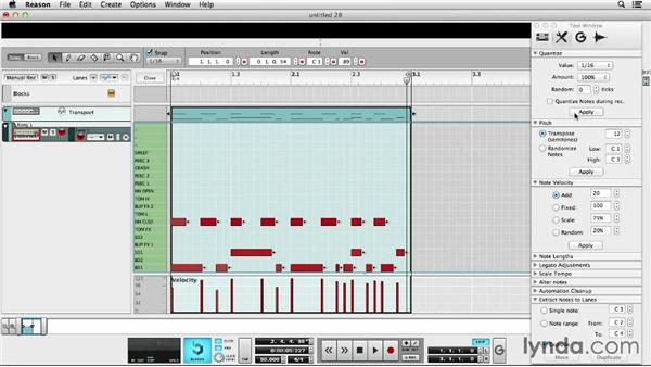 Creating drum beats with Kong Drum Designer: Up and Running with Reason 7