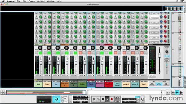 Setting levels and stereo pans: Up and Running with Reason 7