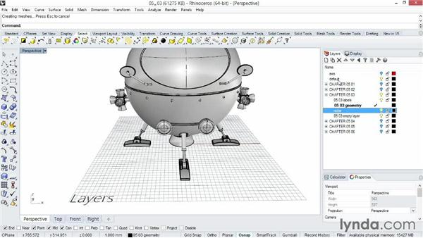 Organizing a project using layers: Rhino 5 Essential Training