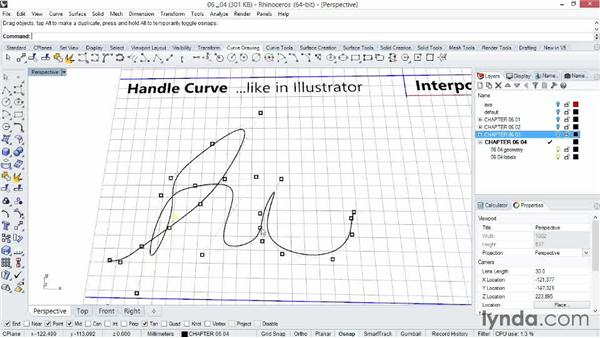 Drawing free-form curves: The key to organic modeling: Rhino 5 Essential Training