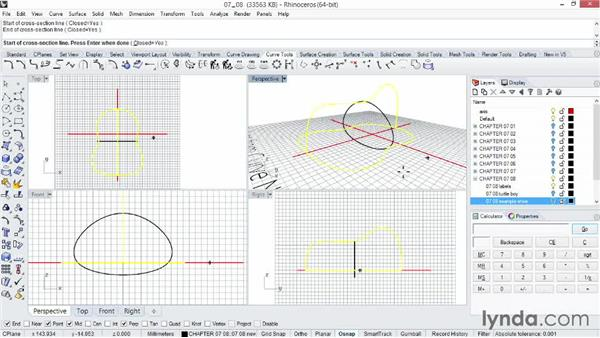 Creating complex surface shapes using Network Surface: Rhino 5 Essential Training
