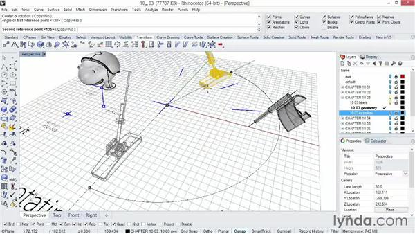 Moving and rotating objects with the Drag and Nudge tools: Rhino 5 Essential Training