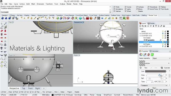 Understanding materials and lighting: Rhino 5 Essential Training