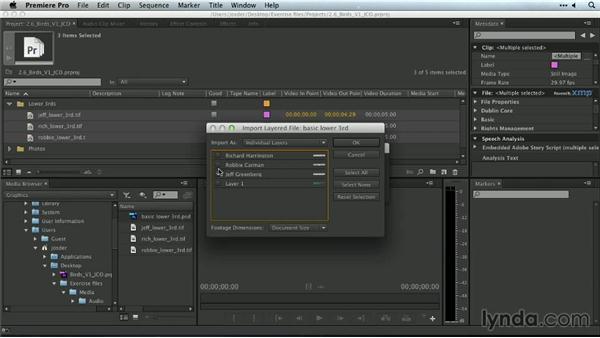 Importing layered Photoshop files: Premiere Pro Guru: Organizing Assets