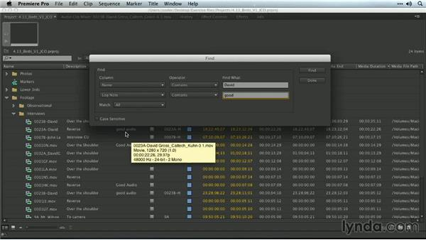 Using the Find command: Premiere Pro Guru: Organizing Assets
