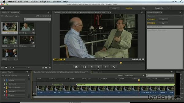 Adding markers with Prelude: Premiere Pro Guru: Organizing Assets