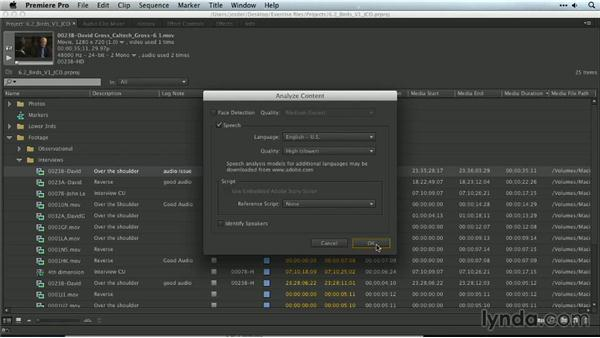 Speech analysis: Premiere Pro Guru: Organizing Assets