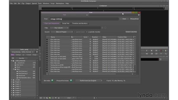 Using PhraseFind: Avid Media Composer 7 Essential Training
