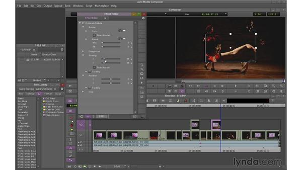 Using the picture-in-picture (PIP) effect: Avid Media Composer 7 Essential Training
