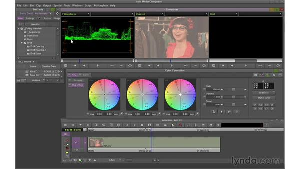 Using the Y-Waveform monitor to set whites and blacks: Avid Media Composer 7 Essential Training