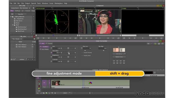 Using the Vectorscope to improve skin tones: Avid Media Composer 7 Essential Training