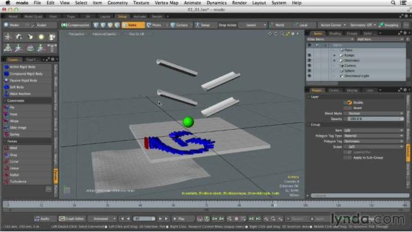 Understanding dynamics: Dynamics and Particles in MODO