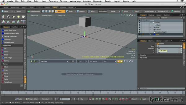 Creating rigid bodies: Dynamics and Particles in MODO