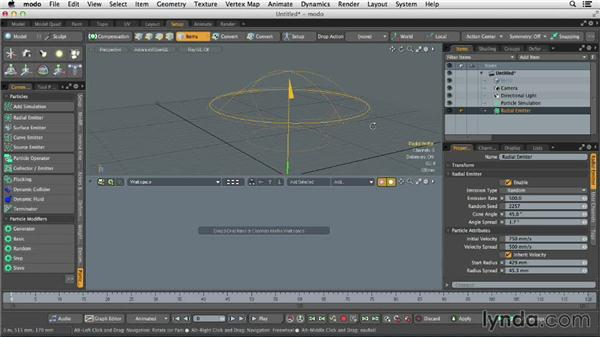 Understanding particle emitters: Dynamics and Particles in MODO