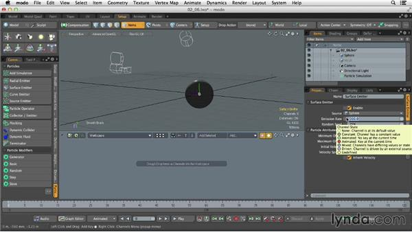 Modifying and sculpting particles: Dynamics and Particles in MODO
