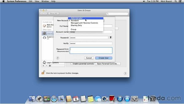 Setting up multiple user accounts: Mac OS X Mavericks Essential Training