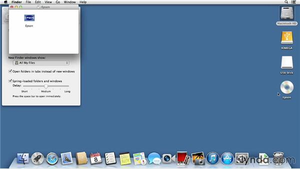 Connecting external drives and deciding what shows up on the desktop: Mac OS X Mavericks Essential Training