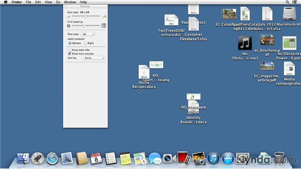 Organizing items on the desktop: Mac OS X Mavericks Essential Training