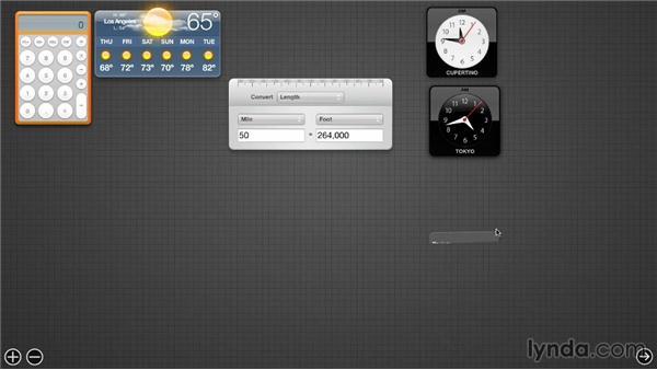 Using Dashboard widgets for quick tasks: Mac OS X Mavericks Essential Training