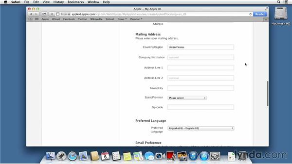 Setting up an Apple ID to use in iTunes, iBooks, and the App Store: Mac OS X Mavericks Essential Training