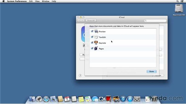 Configuring iCloud to sync data and store documents: Mac OS X Mavericks Essential Training