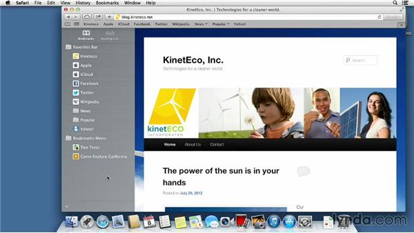 Bookmarking important websites: Mac OS X Mavericks Essential Training