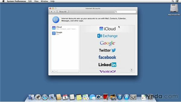 Setting up accounts for Mail, Calendar, and Contacts: Mac OS X Mavericks Essential Training