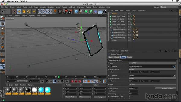 Adding springs to enable interaction between splines and the screen model: Mograph Techniques: Spline Dynamics with CINEMA 4D