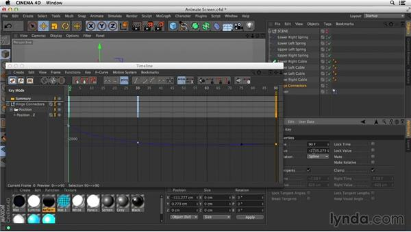 Animating connectors to move the screen model along a track: Mograph Techniques: Spline Dynamics with CINEMA 4D