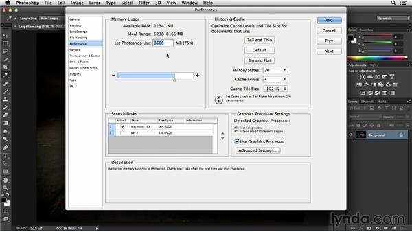 Monitoring memory usage: Photoshop Insider Training: Optimizing Photoshop's Performance