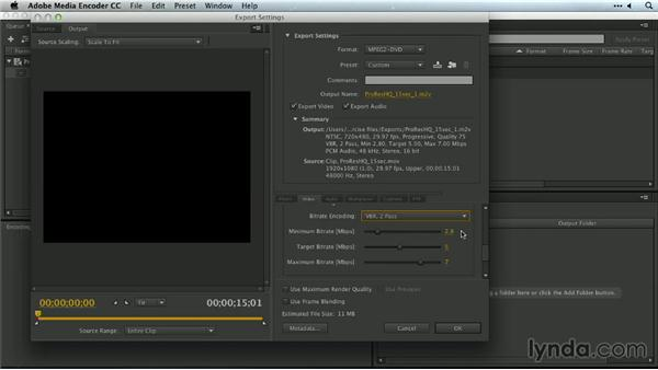 Higher quality encodes with variable bitrate encoding in Adobe Media Encoder: Premiere Pro Guru: Outputs and Media Encoder