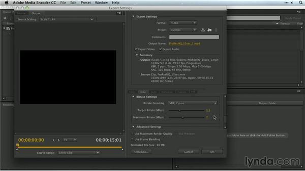 Adjusting web output settings: Premiere Pro Guru: Outputs and Media Encoder