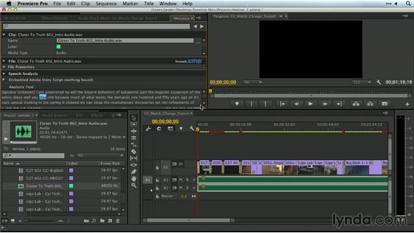 Including script and speech analysis to metadata: Premiere Pro Guru: Outputs and Media Encoder