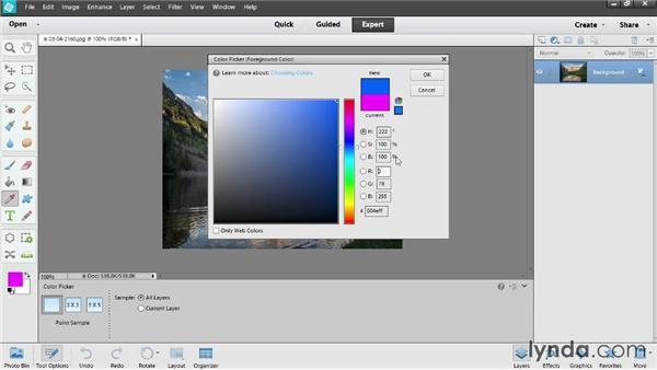 Picking colors: Photoshop Elements 12 Essential Training