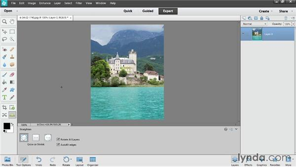 Straightening photos with Content-Aware Fill: Photoshop Elements 12 Essential Training