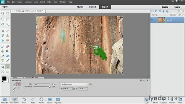 Changing photo orientation with the Recompose tool: Photoshop Elements 12 Essential Training