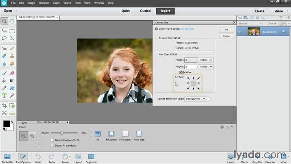 Adding canvas size: Photoshop Elements 12 Essential Training