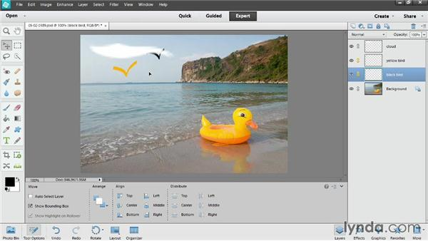 Managing layers in the Layers panel: Photoshop Elements 12 Essential Training