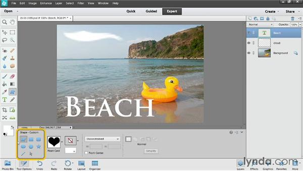 Text and shape layers: Photoshop Elements 12 Essential Training