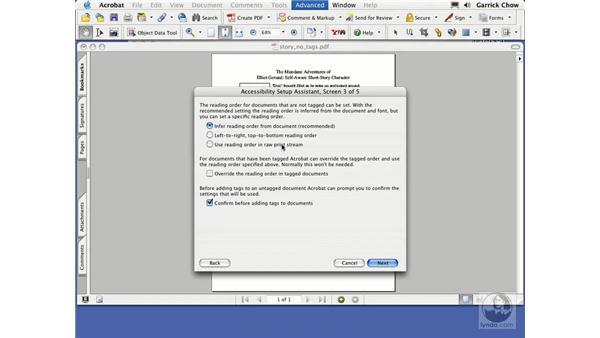 accessibility setup assistant: Acrobat 7 New Features