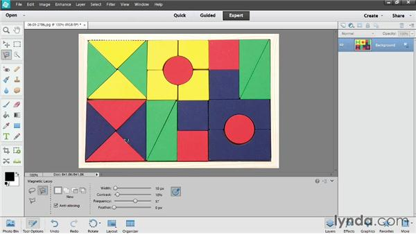 Using the lasso tools: Photoshop Elements 12 Essential Training