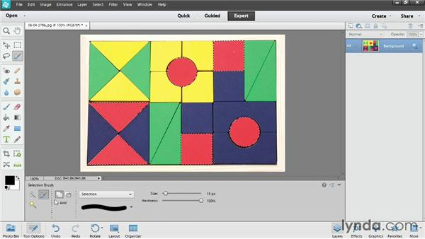 Using the Quick Selection and Magic Wand tools: Photoshop Elements 12 Essential Training