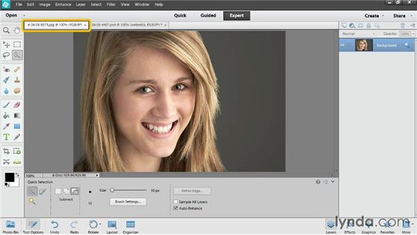 Refining a selection: Photoshop Elements 12 Essential Training