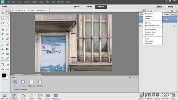 Adding adjustment layers: Photoshop Elements 12 Essential Training