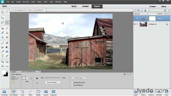 Limiting adjustment layers with masks: Photoshop Elements 12 Essential Training