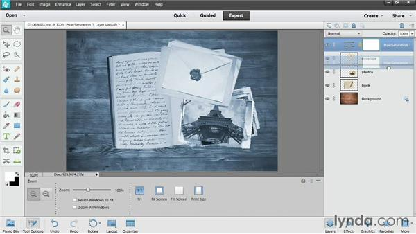 Controlling adjustment layers: Photoshop Elements 12 Essential Training