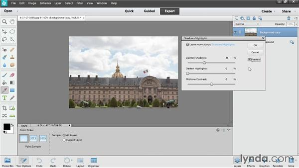 Improving shadows and highlights: Photoshop Elements 12 Essential Training