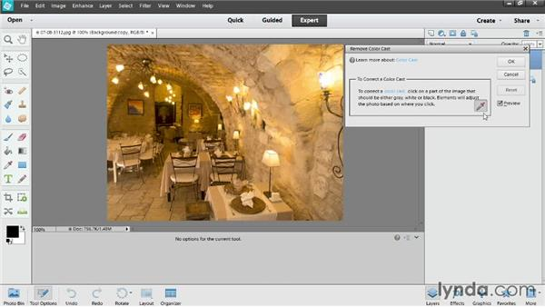 Removing color casts: Photoshop Elements 12 Essential Training
