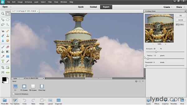 Output sharpening: Photoshop Elements 12 Essential Training