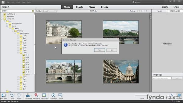 Designating a watched folder for new photos (Windows only): Photoshop Elements 12 Essential Training